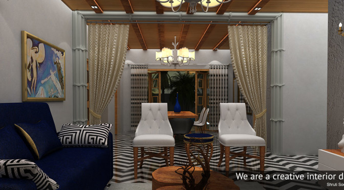 Dining Room with Attractive Flooirng by Shruti Sodhi Interior Designs