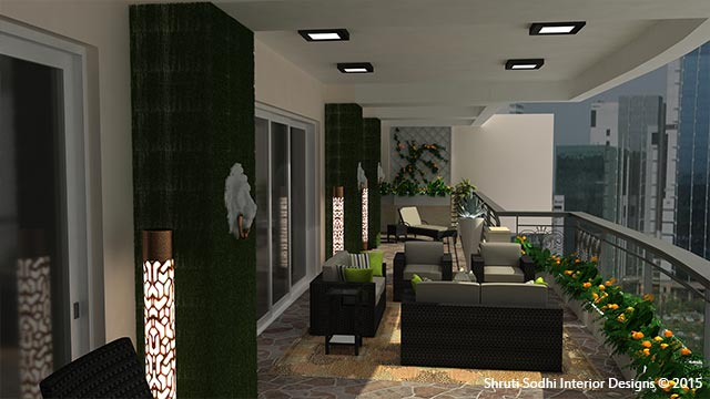 A view of Greenery at Balcony of Magnolia Interior Design Project by Shruti Sodhi Interior Designs