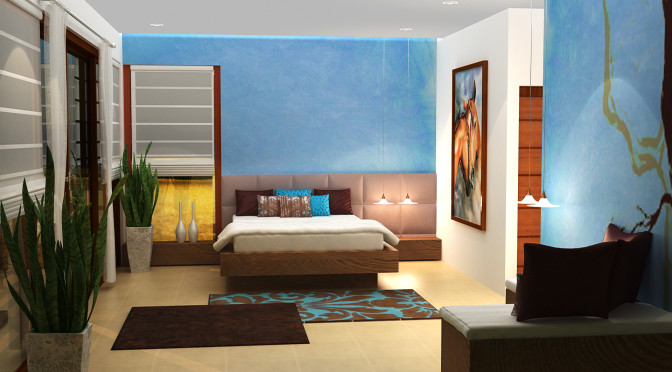 A simple interior designing of a bed room by ShrutiSodhi Interior Designs
