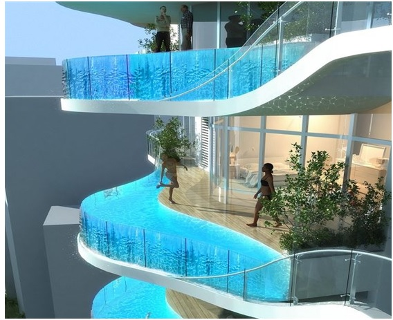 An image to show Private Balcony Pools as a part of hotel interior designing - Shruti Sodhi Interior Designing