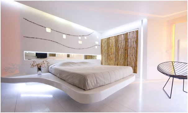 Image of a floating bed inside a hotel - Shruti Sodhi Interior Designs