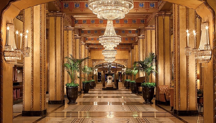 Palatial look for lobby area of a premium hotel - Shruti Sodhi Interior Designs