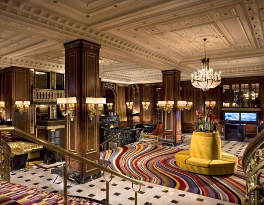 Colourful decoration of lobby area inside a premium hotel - Shruti Sodhi Interior Designs