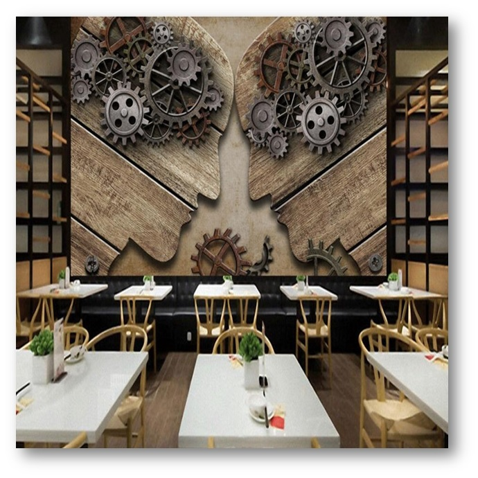 Wooden Artwork for wall of a eatery - Shruti Sodhi Interior Designs