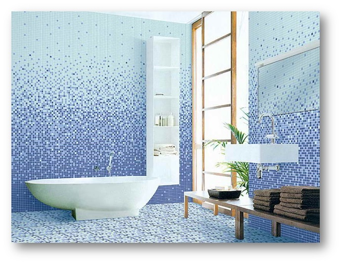 Bathroom Interiors having Mosaic Wall Titles - Shruti Sodhi Interior Designs