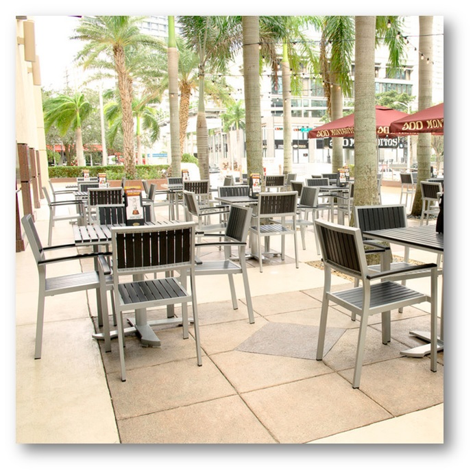 Restaurant patio having metal furnitures - Shruti Sodhi Interior Designs