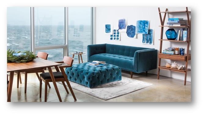 Home interior decor with velvet sofa - SSID