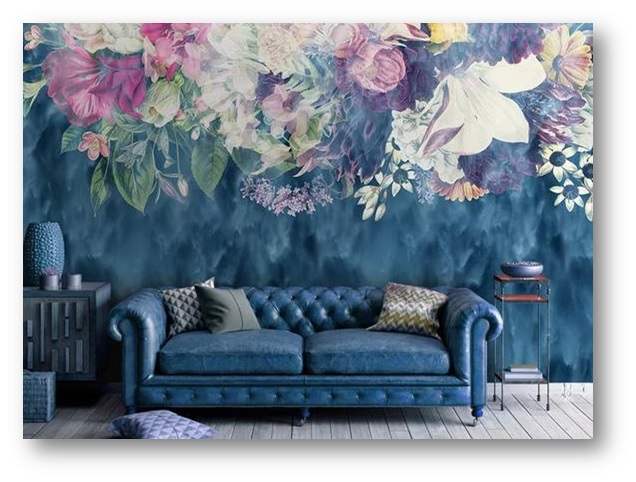 Interior decor with floral wallpaper - SSID