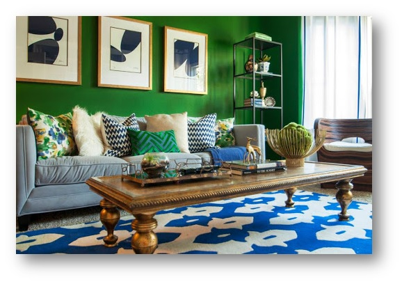 Monochromatic interior decor with Kelly Green - SSID