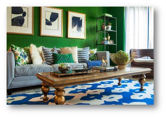 Monochromatic interior decor with Kelly Green - SSID