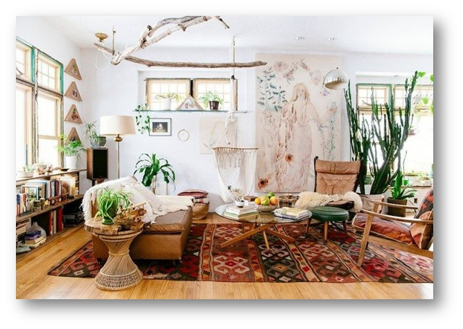 Living area with tribal rugs - SSID