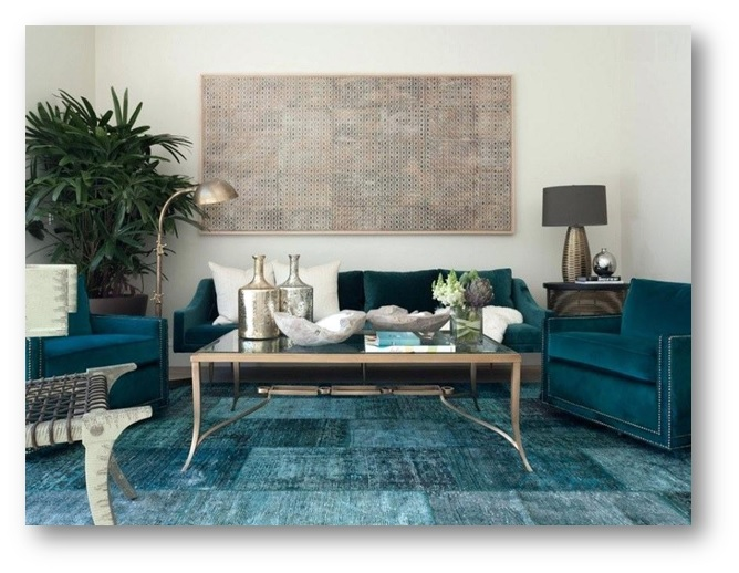 Use of teal blue rugs in living area - SSID