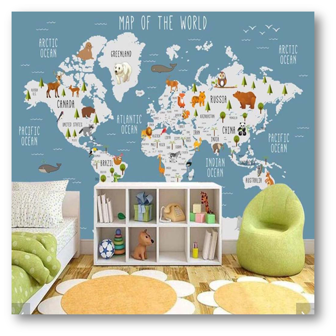Wall painting of a world map - SSID