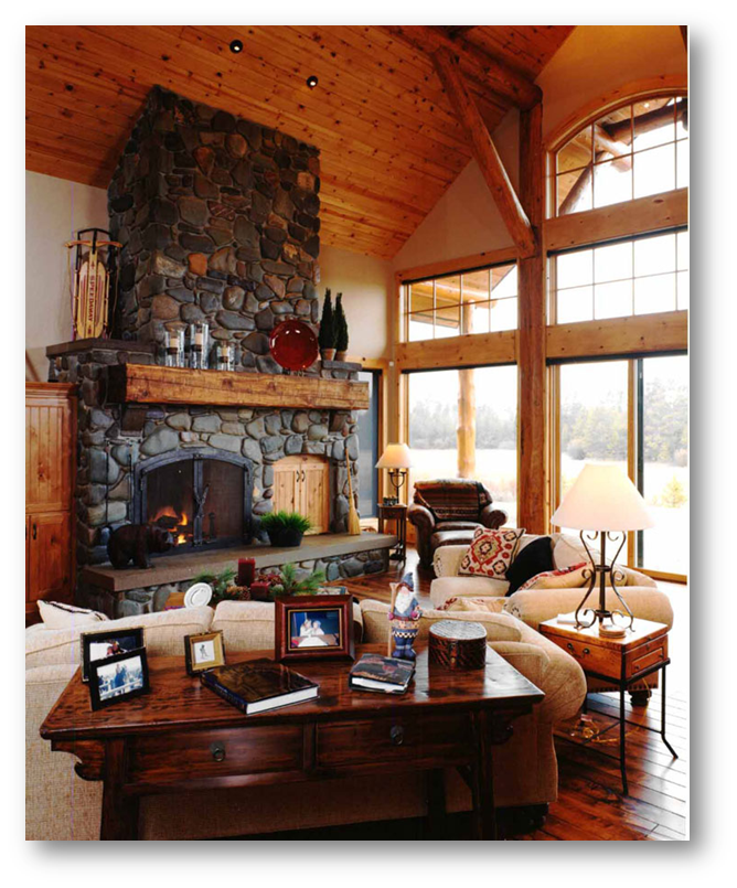 Use of eccentric stone fireplaces inside living hall - SSID