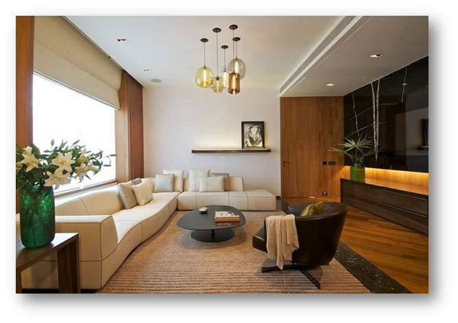 Living room with combination of natural & artificial pendant light - SSID