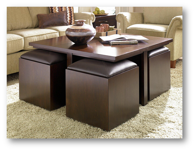 Coffee table with nested chairs - SSID