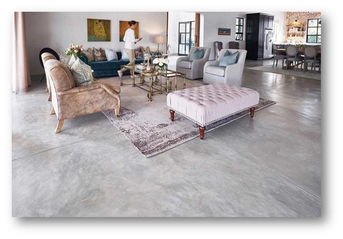 Neutral minimalist concrete flooring - SSID