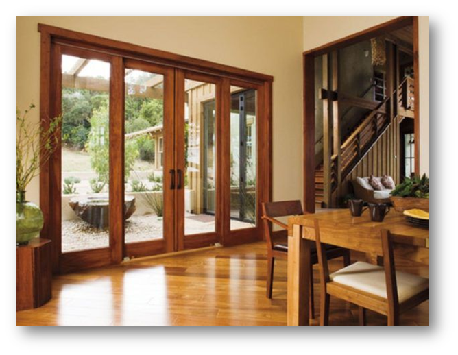 Doors of alternating glass strips and timber planks - SSID