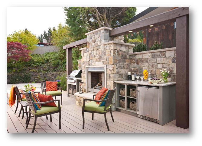Stonewall for a sophisticated outdoor entertainment area - SSID