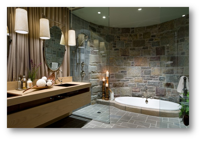 Use of stone wall in your bathroom - SSID