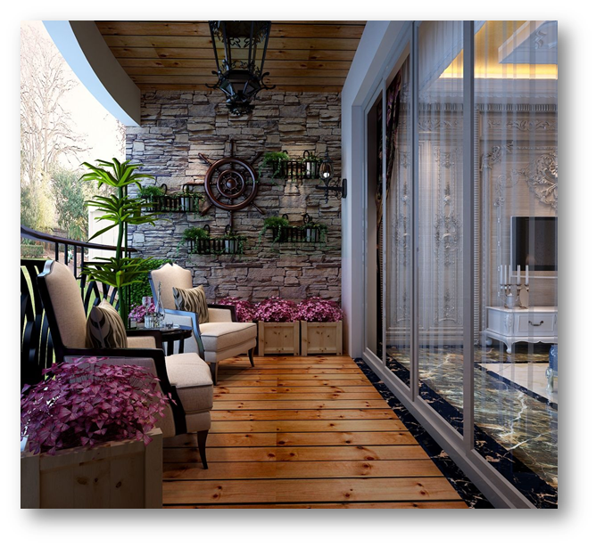 Use of stone wall in your balcony - SSID