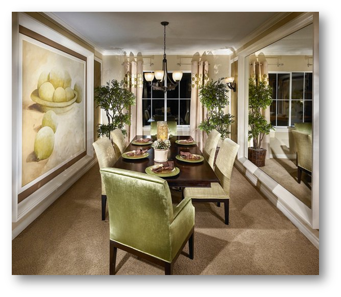 Use of large mirror in the dining area to look it bigger - SSID