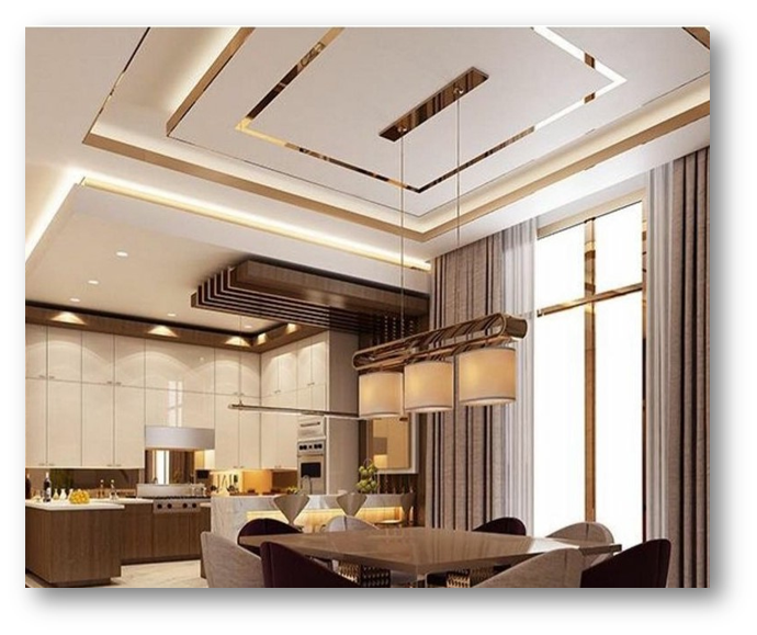 Use of reflective metallic surfaces on false ceiling