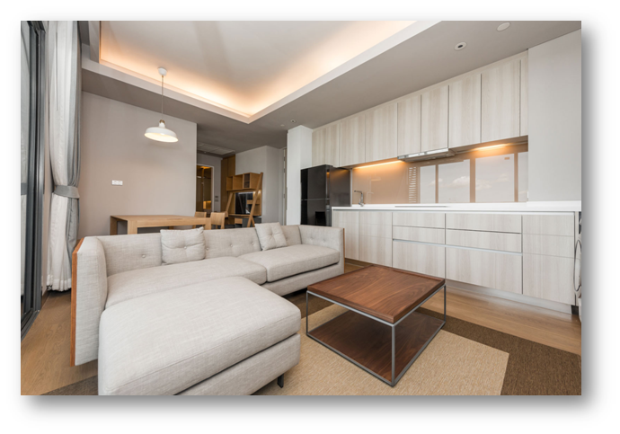 Peripheral false ceilings with use of diffused lighting